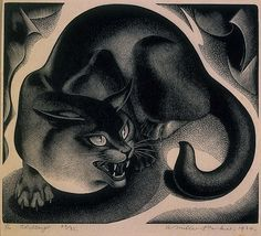 rawr. The Challenge, 1936, woodcut by Agnes Miller Parker.