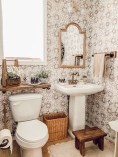 Modern Rustic Farmhouse Bathroom Makeover with Vintage Patina Tile Wallpaper - This bathroom makeover shares before and after photos of a builder grade small bathroom transformed into a beautiful cottage style dreamy bathroom. – Rain and Pine Cottage Style Bathrooms, Modern Farmhouse Bathroom, Rustic Farmhouse, Farmhouse Style, Kitchen Modern, Farmhouse Ideas, Tile Wallpaper, Interior Wallpaper, Bathroom Renos