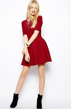 red short flared dress - Google Search