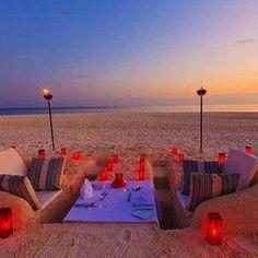 Perfect romantic beach picnic