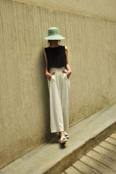 black crop top, cream wide legs