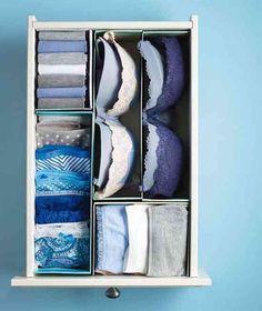 ORGANISATION - Tiroir pour sous-vêtements organisé avec des boites à chaussures découpées.