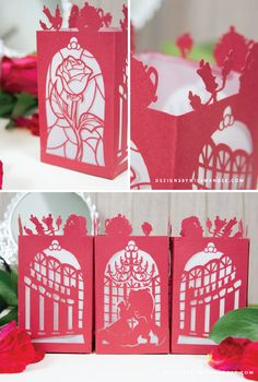 Beauty and the Beast Paper Lantern - Designs By Miss Mandee. Get ready for the Beauty and the Beast movie premier with these stunning, intricate paper lanterns. Download the template to create this beautiful paper cut for FREE!