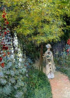 The Garden, Hollyhocks - Claude Monet