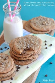 Peanut Butter and Honey Whole Wheat Chocolate Chip Cookies