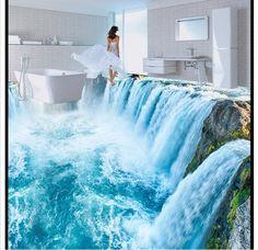 Индивидуальные 3D фото обои водопад гостиная кухня 3D 3D росписи пвх самослипанию пола wallpaer купить на AliExpress