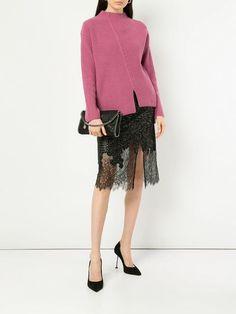 Black and white lace hem skirt from Robert Rodriguez. White Lace, Black And White, Studio, Size Clothing, Lace Skirt, Knitwear, Cashmere, Women Wear, Feminine