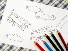 Printable colouring page  Vintage airplanes by tinchDesignStudio, $2.00