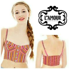 L' AMOUR MULTI COLOR STRIPED BRALETTE TOP *MULTI COLOR STRIPED CROP TOP FESTIVAL    FUCHSIA *BRAND NEW WITH TAGS. *JUNIOR TOP * SNAP FRONT *100% POLYESTER Nanette Lepore Tops Crop Tops