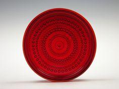 Nuutajarvi 'Kastehelmi' ruby glass bowl by Oiva Toikka