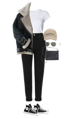 """Sem título #1646"" by oh-its-anna ❤ liked on Polyvore featuring RE/DONE, Topshop, Acne Studios, Balenciaga, Converse and Ray-Ban"
