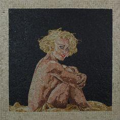 """Titolo (L.V.M.C.) Mosaico in marmi e smalti veneziani 68x68 +cornice in ferro  n""""45 Agosto 2004"""