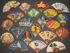 Vintage French Paper Advertising Fans