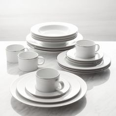 Maison Platinum Rim 20-Piece Dinnerware Set | Crate and Barrel