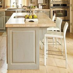 A kitchen island is