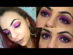 Maquiagem Roxo/Lilás Vibrante e Lábios Chocolate