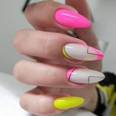 Long Acrylic Nails, Cute Acrylic Nails, Acrylic Nail Designs, Neon Nails, Swag Nails, Stylish Nails, Trendy Nails, Nail Design Stiletto, Geometric Nail
