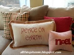 DIY Christmas Pillows  Use different fabrics and sayings to create pillows for all holidays.  You can even use different fabrics on opposite sides for dual-holiday pillows.
