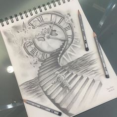 Resultado de imagem para stairs to clock tattoo - Tattoos From Around The World - # Dr Tattoo, Mom Tattoos, Body Art Tattoos, Sleeve Tattoos, Tattoos For Guys, Tattos, Tattoo Sketches, Tattoo Drawings, Art Sketches