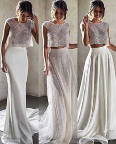 2 or Which bridal separates look would you wear on your wedding day? Top Wedding Dresses, Country Wedding Dresses, Bridal Dresses, Wedding Gowns, Bridesmaid Dresses, Prom Dresses, Formal Dresses, Wedding Bells, Anna Campbell Bridal