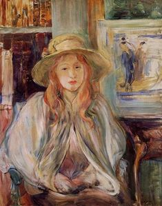 Berthe Morisot Julie Manet with a straw hat - Handmade Oil Painting Reproduction on Canvas
