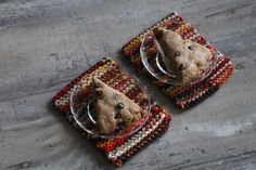 Snack Mats Autumn Spice Log Cabin Brown Red Gold Cream Orange Knitted from Upcycled TShirts set of 2 5 1 4 by 7 in -US Shipping Included Doll Quilt, Handmade Items, Handmade Gifts, Etsy Handmade, Mug Rugs, Autumn Inspiration, Red Gold, Decoration, Upcycle