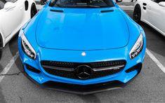 Download wallpapers Mercedes-AMG GT, 4k, 2017 cars, supercars, blue Mercedes, sportcars, Mercedes