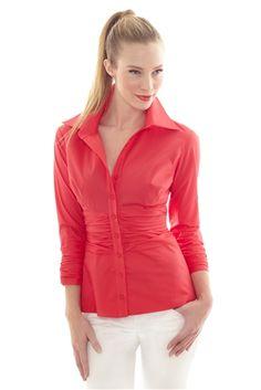 Three Quarter Sleeve Button Down Cotton Shirt