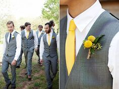 Same suits with tie color unique to the groom.