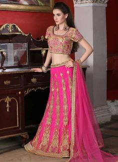 Glossy Magenta With Embroidery Resham Work A line  Lehenga Choli http://www.angelnx.com/Lehenga-Choli/Wedding-Lehenga-Choli                                                                                                                                                                                 More