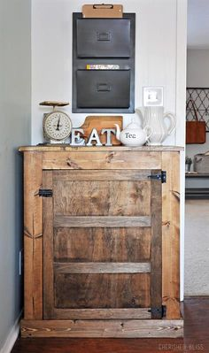 This simple and easy to build Small Kitchen Buffet is the perfect way to add storage without taking up a lot of room. It can easily be customized to fit any style but is shown here with an industrial farmhouse finish.