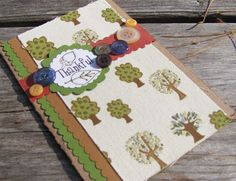 Thankful Handmade Card with Fabric Paper ~ Sincerely, Paula