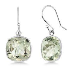 10.00 ctw 925 Silver 11mm Green Amethyst Cushion Checkerboard Dangle Earrings