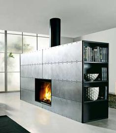 Modern Steel Clad Fireplace