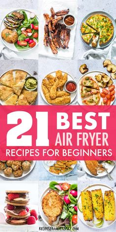 This collection of the 21 Best Air Fryer Recipes For Beginners includes main dishes, snacks, sides and sweets that are super quick, simple and easy to make. Air Fryer Recipes Low Carb, Air Fryer Recipes Breakfast, Air Fryer Dinner Recipes, Appetizer Recipes, Appetizers, Airfryer Breakfast Recipes, Best Asparagus Recipe, How To Cook Asparagus, Baked Asparagus