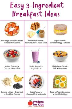 These easy 3-ingredient breakfast ideas will save you time in the morning and help power you and your kids until lunch. Fruit Yogurt, Yogurt Smoothies, Grab And Go Breakfast, Breakfast Items, Healthy Meals For Kids, Healthy Breakfast Recipes, Healthy Food, Healthy Recipes, Oatmeal With Fruit