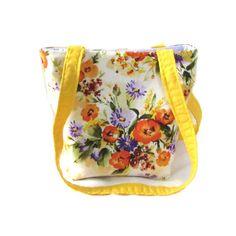 Floral Purse Small Tote Bag Handmade Handbag by ColleensDesigns
