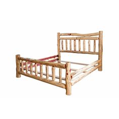 Rustic Red Cedar Log Double Top Rail Bed  Queen Size Amish Made In The