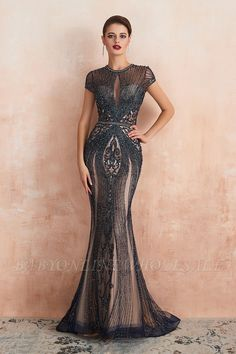 Luxurious Crystal Short Sleeve Prom Dress Long Mermaid Kehole Evening Gowns With Zipper Back Short Sleeve Prom Dresses, Navy Prom Dresses, Prom Dresses For Sale, Tulle Prom Dress, Quinceanera Dresses, Party Dresses, Occasion Dresses, Bridesmaid Dresses, Chiffon Dresses
