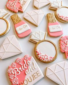 """Brittany's Cookie Co (@brittanyscookieco) posted on Instagram: """"Bride and BOUJEE 💎💗"""" • Mar 12, 2021 at 3:05pm UTC Bachelorette Party Themes, Brittany, Bridal Shower, Cookies, Bride, Wedding, Instagram, Shower Party, Crack Crackers"""