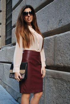 Burgundy Leather Skirt - Falda de Cuero Burgundy | My Style ...