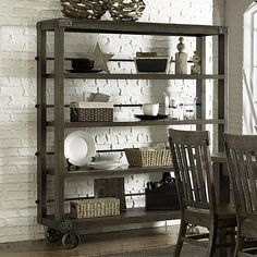 Featuring 4 spacious shelves and a grey acacia finish, this castered bookcase adds an industrial-chic touch to your dining room or master suite....