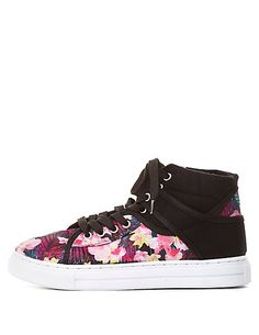 Qupid Floral Print High-Top Sneakers: Charlotte Russe