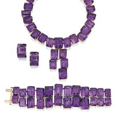 Lot | Sotheby's: Ruser 18kt gold Amethyst Suite  This is what a Glorious Amethyst piece should look like.