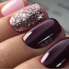 Plum, glitter, pink, nails #Nails