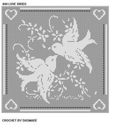 Love Birds Filet Crochet Doily Afghan Pattern Item 444 | CROCHETBYDASMADE - Patterns on ArtFire