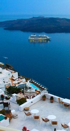 Fira ~ is the capital of Santorini and located on the west side of the Island. The city is perched on the edge of an impressive cliff, at a hight of 260 meters offering a great panaramic view over surmerged volano, Greece