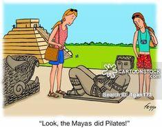 Pilates cartoons. Felipe Galindo. 'Look, the Mayas did Pilates!'