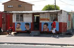 Mike's Barber Shop in the Delft township, outside of Cape Town, South Africa. Container Shop, Container Homes, Barber Sign, Xhosa, Barbers, Delft, Shop Signs, African Art, Cape Town
