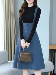 Round Neck Patch Pocket Single Breasted Color Block Skater Dress # Daily update comfy women's casual styles, big everyday Frock Fashion, Trend Fashion, Skirt Fashion, Fashion Dresses, Latest Fashion, Modest Dresses, Stylish Dresses, Stylish Outfits, Casual Dresses